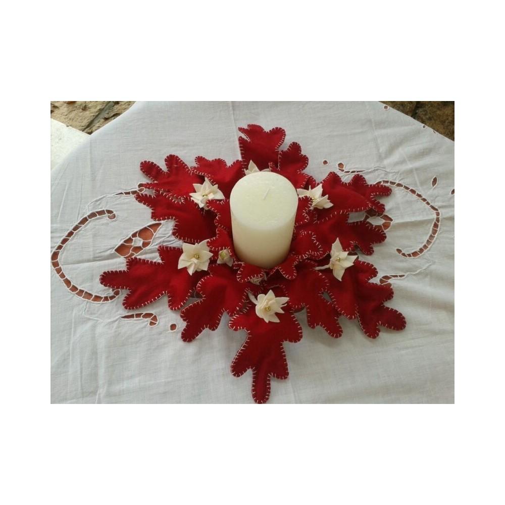 Portacandela con foglie rosso