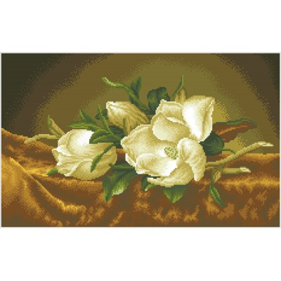Magnolias on gold velvet