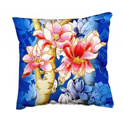Magnolias on blue 1 (cuscino)